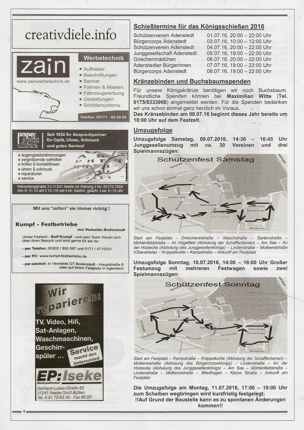 www.gelbesblatt.info Festschrift der JG zum Adenstedter Schützenfest