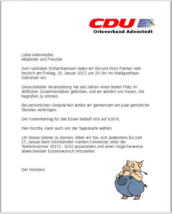 www.gelbesblatt.info CDU Mitgliederversammlung und Schlachtefestessen