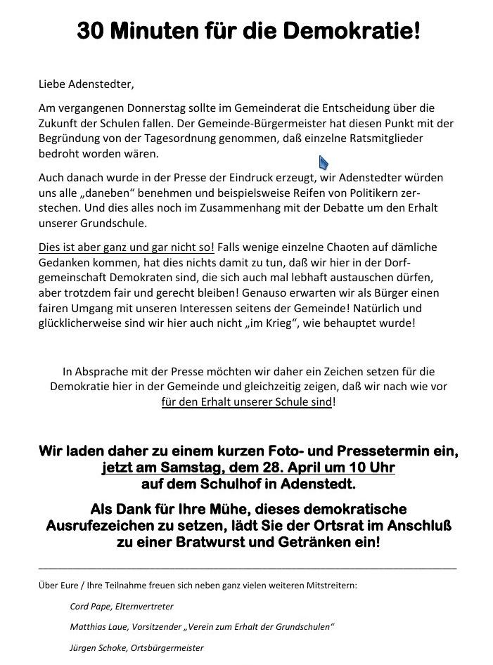 www.gelbesblatt.info Adenstedter wollen ihre Schule behalten
