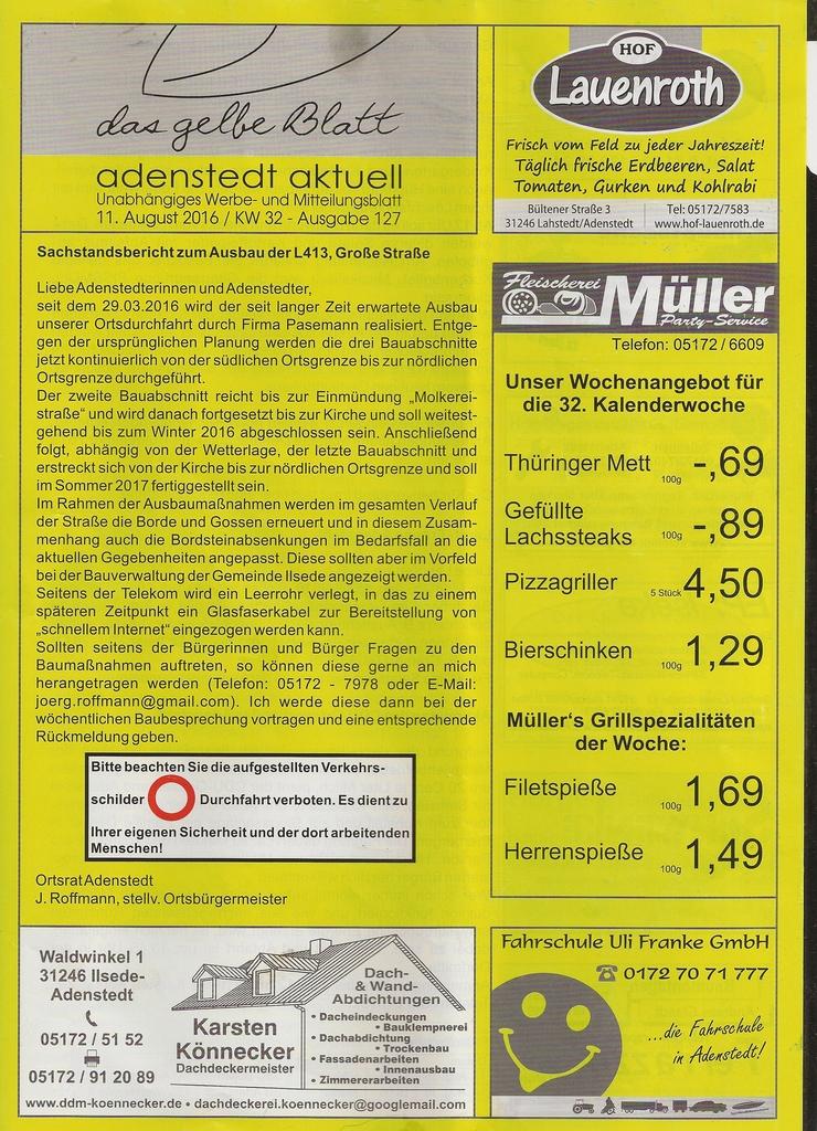 www.gelbesblatt.info adenstedt aktuell - Ausgabe 126-129 - Aug 2016